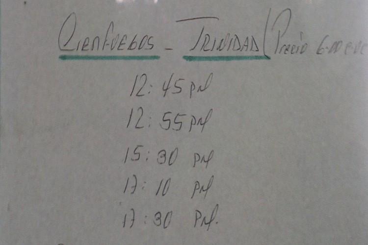 Cienfuegos to Trinidad Viazul Timetable Image