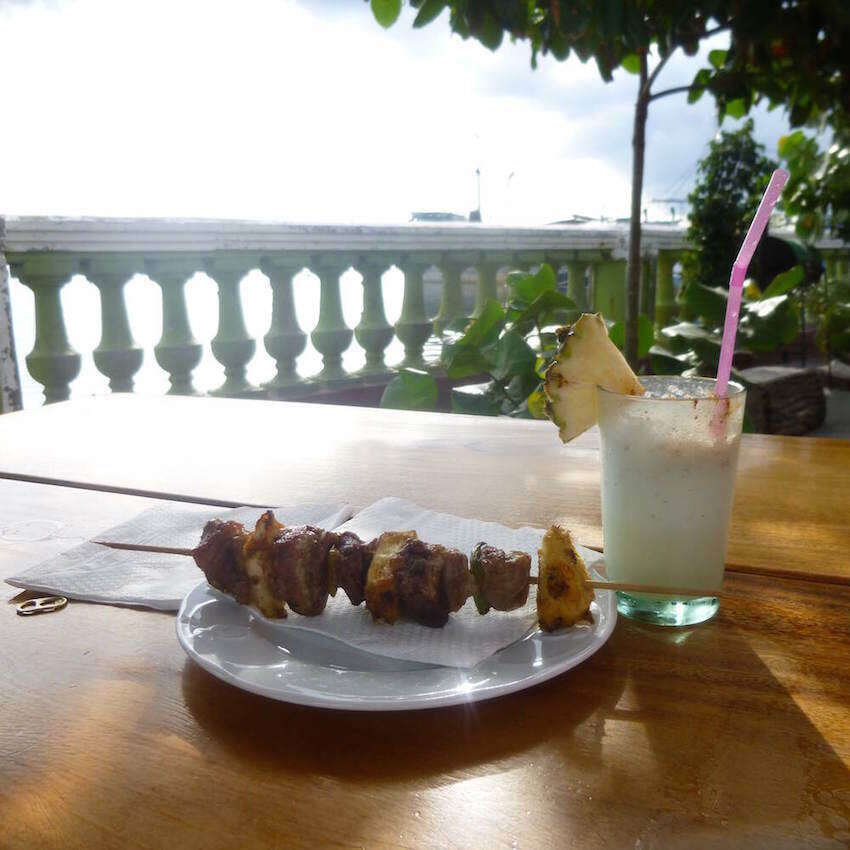 Pineapple and Pork Kebab and Pina Colada Image
